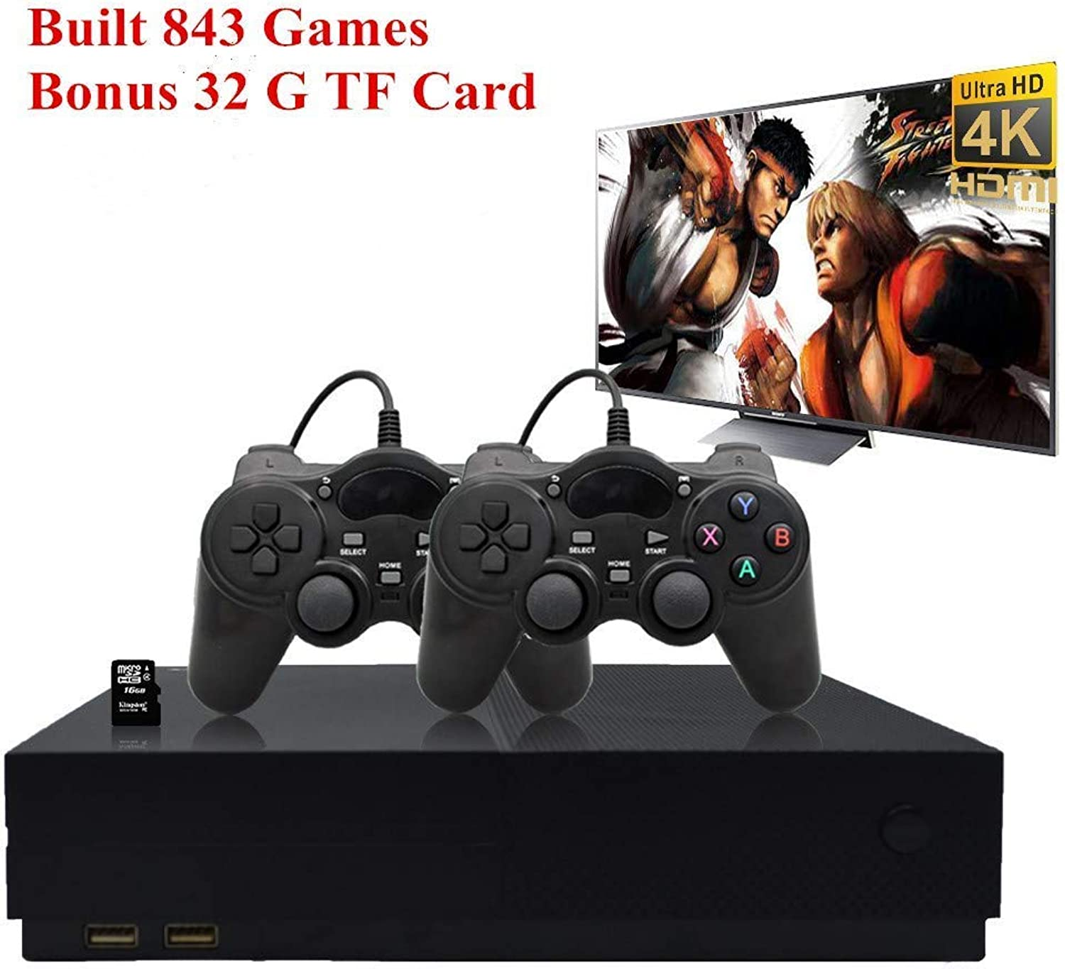 Workingda Retro Game Console, 32GB 4K HDMI TV Output Entertainment System Video Game Console Builtin 843 Classic Game Player with 2PCS Joystick