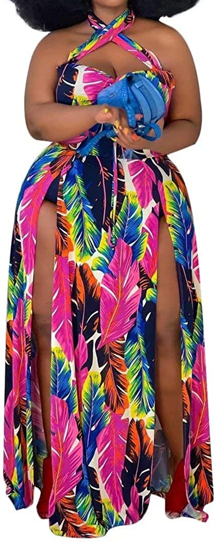 Women's Sexy Plus Size Halter Neck Floral Print Split Beach Party Maxi Dress