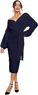 Romwe Women's Elegant Off Shoulder Wrap Belt Tie Front Lantern Sleeve Party Midi Dress