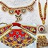 Durga Devi Vastra Poshak、Malaネックレス、Nath、Kade、Tagdiベルトfor MATA Laxmi-Radha Rani/Deviドレス、フルシュリンガーヘビーコンボドレス&シュリンガーセット(イエロー、4インチ)| 主婦のアクセサリー