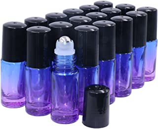 Essential Oil Roller Bottles 5ml 18 Pack Thick Gradient Glass Roll on Bottles With Stainless Steel Roller Balls,Black Lids Perfume Lip Balms Aromatherapy Blends-FREE Dropper (Blue/Violet Gradient)