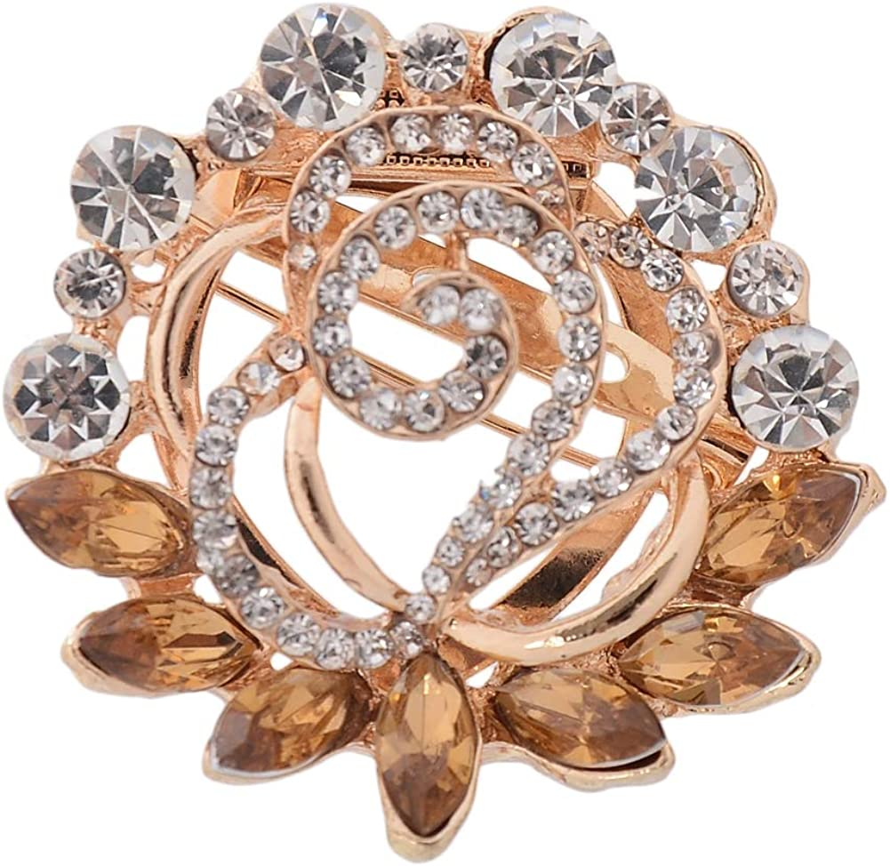 Babasee Round Multi-Color Rhinestone Crystal Flower Brooches Pins Brooch Bouquet