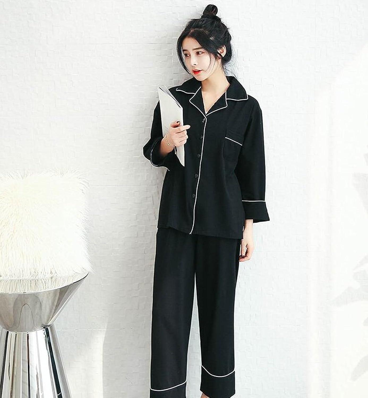 Pajama women longsleeved cotton Nightwear large lapel cotton Sleepwear ( Size   XL )