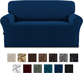 Easy-Going Fleece Stretch Sofa Slipcover – Spandex Anti-Slip Soft Couch Sofa Cover, Washable Furniture Protector with Anti-Skid Foam and Elastic Bottom for Kids, Pets(Loveseat,Navy