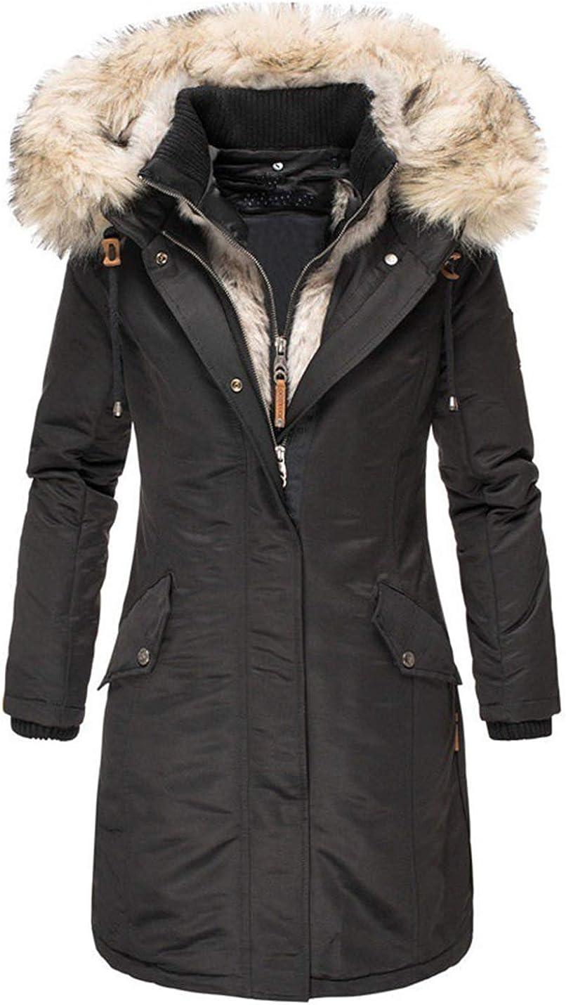 PUWEI Women's Faux Fur Hooded Parka Loose Mid Long Fleece Lined Padded Jacket
