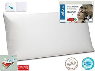 Velfont Funda Almohada Respira Transpirable hipermeable hipoalergenico Tratamiento aloevera Todas Las Medidas (90cm)