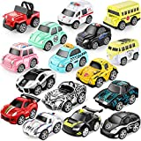 Metal Car Toys For Kids, Geyiie Mini Pull Back Vehicles Toys, Police Car/School Bus/Ambulance Car/Race Cars, Friction Powered, Small Die Cast Cars Gift For 3 4 5 6 Years Old Boys Girls Toddler,16 Pack