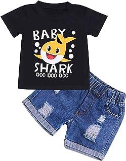 طقم ملابس للأطفال الأولاد والبنات الصغار والأطفال الصغار مطبوع عليها صورة القرش دو دو دو دو وبنطلون جينز ممزق