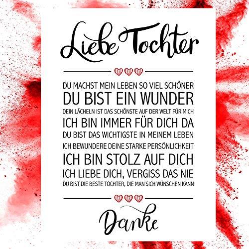 Close Up Beste Tochter - Danke Zitate Poster - Deko Geschenk zum Geburtstag, Weihnachten, jeden Tag - 30 x 40 cm, Premium Qualität