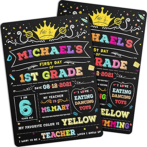 First and Last Day of School Chalkboard Sign Double-Sided Reusable Back to School Board Sign Chalkboard Style 1st Day School Stats Photo Prop Color-Printed First Day of School Board for Kid, Student