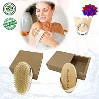 Body Brush Dry Brushing Skin Brush Natural Bristles Back Scrubber Exfoliating Massager Shower Dry brush Wet brush Bath Brush For Men/Women Improves Skin's Beauty Healthy