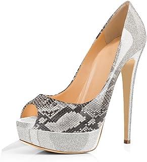 8e33930ae6 onlymaker Women Slip On Platform High Heels Peep Toe Gradual Change Pumps  Shoes-Grey-