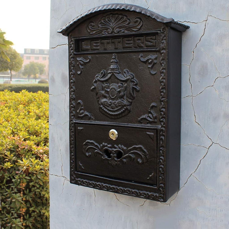 TLMY ヨーロッパの庭別荘家の装飾黒壁掛け天使鋳鉄レターボックスメールボックス27.5×10.2×40センチ メールボックス