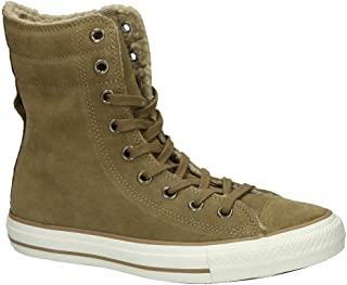 Converse Chuck Taylor All Star Hi Rise Sand/Egret Suede Sneakers 553421C Women Boot Shoes