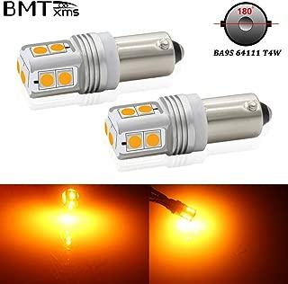 BMTxms Canbus 64111 T4W BA9S Led Bulb Amber Car Turn Signal Light DRL Light Reverse Light 180 Degrees Light Brake Lights Parking Lights 10-3030-SMD Lamps(2 Pack, Amber Yellow)