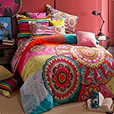 MeMoreCool Home Textile,European Country Style Cotton Bedding Set, Fashion Colorful Boho Style Duvet Covers Elegant Bohemian Flounce Bed Sheets King Size, 4Pcs