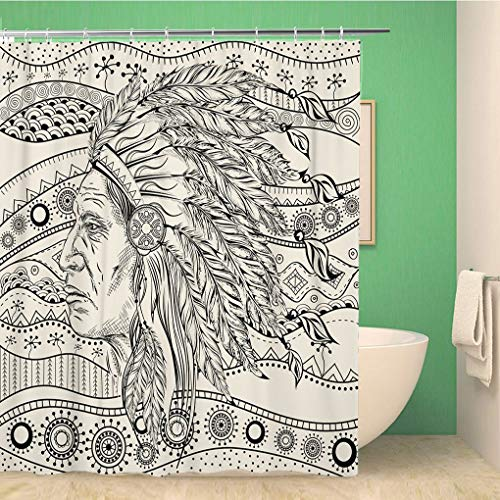 Awowee Bathroom Shower Curtain Man in The Native American Indian Chief on Ethno Pattern Polyester Fabric 72x72 inches Waterproof Bath Curtain Set with Hooks