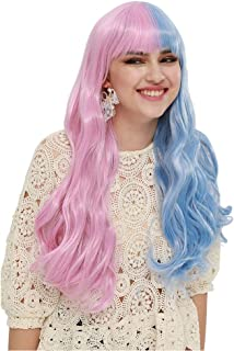 SEIKEA Half Color Wig for Women with Bangs Long Wavy Hair Cute Girl Cosplay Party - Pink Blue