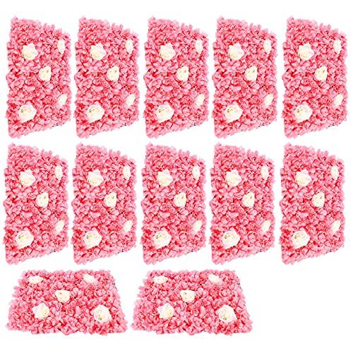 12 PCS Artificial Flower Wall Rose Wall Flowers Panel Fake Flower Wall Silk Flower Wall Panel for...