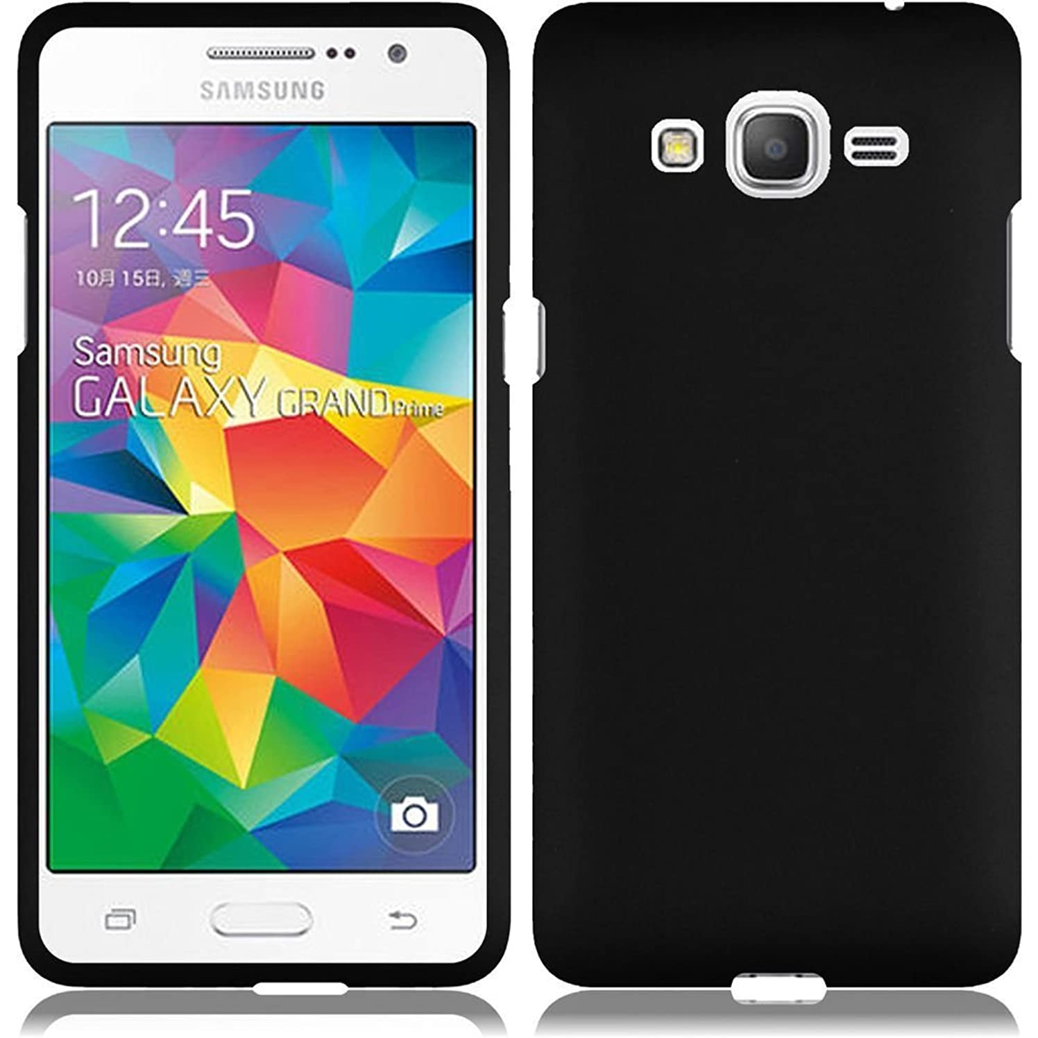 Wydan Case for Samsung Galaxy Grand Prime, Go Prime - Rubberized 2-Piece Snap On Hard Case Cover - Black w/Wydan Stylus Pen