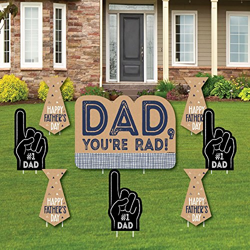 Big Dot of Happiness My Dad is Rad - Yard Sign and Outdoor Lawn Decorations - Father's Day Yard Signs - Set of 8