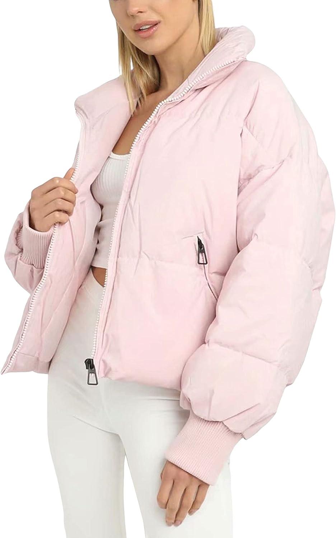 Hooever Women's Quilted Winter Coat Casual Zipper Collared Puff Crop Jacket