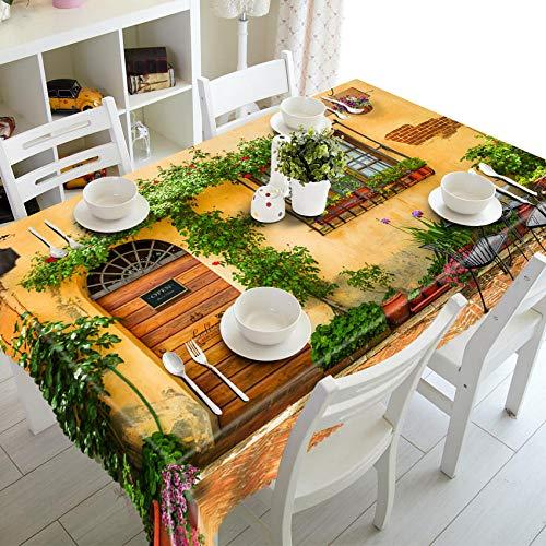 Rektangulär bordsduk 90 x 90 cm dammtät bordsduk polyester bordsduk (trädgårdskalka) rektangulärt bordsskydd är mycket lämpligt för kök middag inomhus utomhus