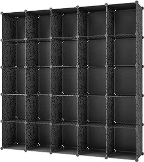 KOUSI Book Cabinet Book Shelf - 14x14 Cube (25 Cubes) Black Shelving Book Shelves Black Cube Shelf Cube Shelves Book Shelving Cube Storage Cabinet Shelf Cubby Cubes for Shelves, Black,No Door