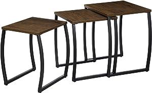 RooLee - Juego de 3 mesas auxiliares, Mesa de café, mesas pequeñas, para salón, Dormitorio, Vintage