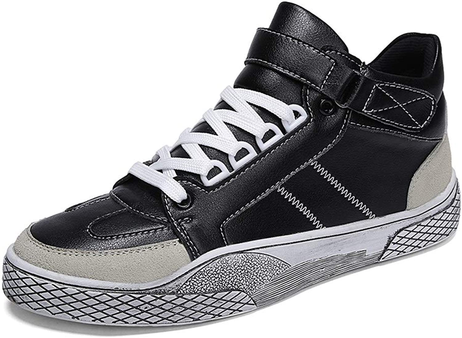 Easy Go Shopping Running Sneakers For Men Microiber Leather Mid-high Top Board shoes Anti-slip Flat Lace Up Round Toe Hook&loop Strap Cricket shoes (color   Black, Size   7.5 UK)