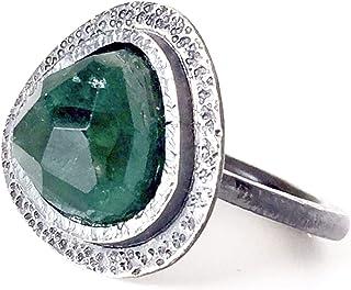 Prezioso anello con preziosa tormalina verde turchese di 12 mm x 12 mm, realizzato interamente a mano in argento sterling.