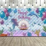 Telón de Fondo de Fiesta de Cumpleaños de Sirenita Bajo el Mar Telón de Fondo de Fotomatón de Cumpleaños de Princesa Sirena Bandera de Fondo de Púrpura Azul Sirena Perla Ballena, 71 x 43 Pulgadas