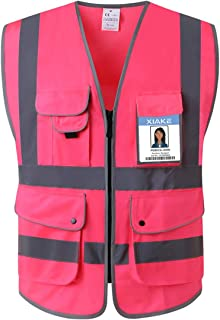 XIAKE Class 2 Reflective Safety Vest with 9 Pockets and Front Zipper High Visibility Safety Vests,ANSI/ISEA Standards(Large,Pink)