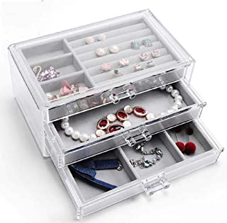 Jewelery Box for Women with 3 Drawers, Velvet Jewelry Organizer for Earrings, Bangle, Necklaces and Rings, Acrylic Coated Cotton, one Size fits All
