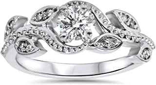 3/8ct Vintage Floral Leaf Diamond Engagement Ring 14K White Gold