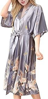 Womens Satin Kimono Robe Printed Bathrobes Bridal Dressing Gown