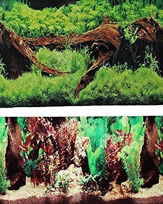"9091 20"" x 48"" Fish Tank Background 2 Sided Driftwood/Floral Background Aquarium"