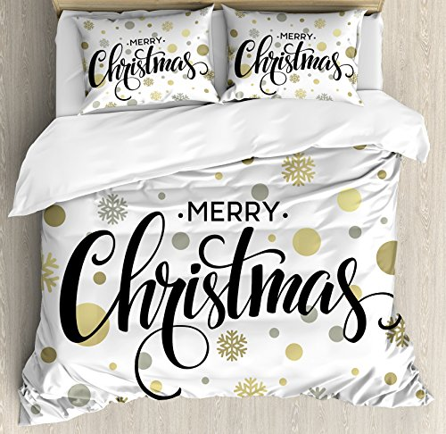 Ambesonne Christmas Duvet Cover Set, Merry Christmas Lettering on an Abstract Modern Snowflake Dot Pattern, Decorative 3 Piece Bedding Set with 2 Pillow Shams, King Size, Black Beige