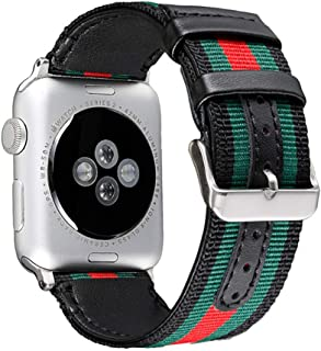 Replacement Strap for Apple Watch Band iWatch Series 1 2 3 4, Casual Woven Nylon with Genuine Leather Wrist Band with Metal Adapter Clasp,Green,42mm