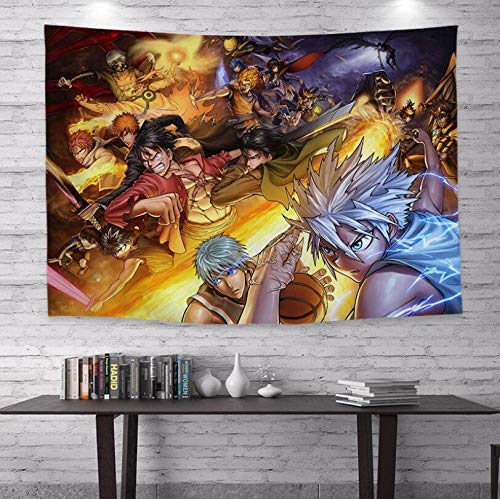 WSPZZWY Tapestries Dragon Ball Naruto Anime Collection Cartoon Multifunctional Decorative Wall Mounted Living Room Bedroom Background Cloth Tablecloth Sofa Cushion B 150 * 200Cm