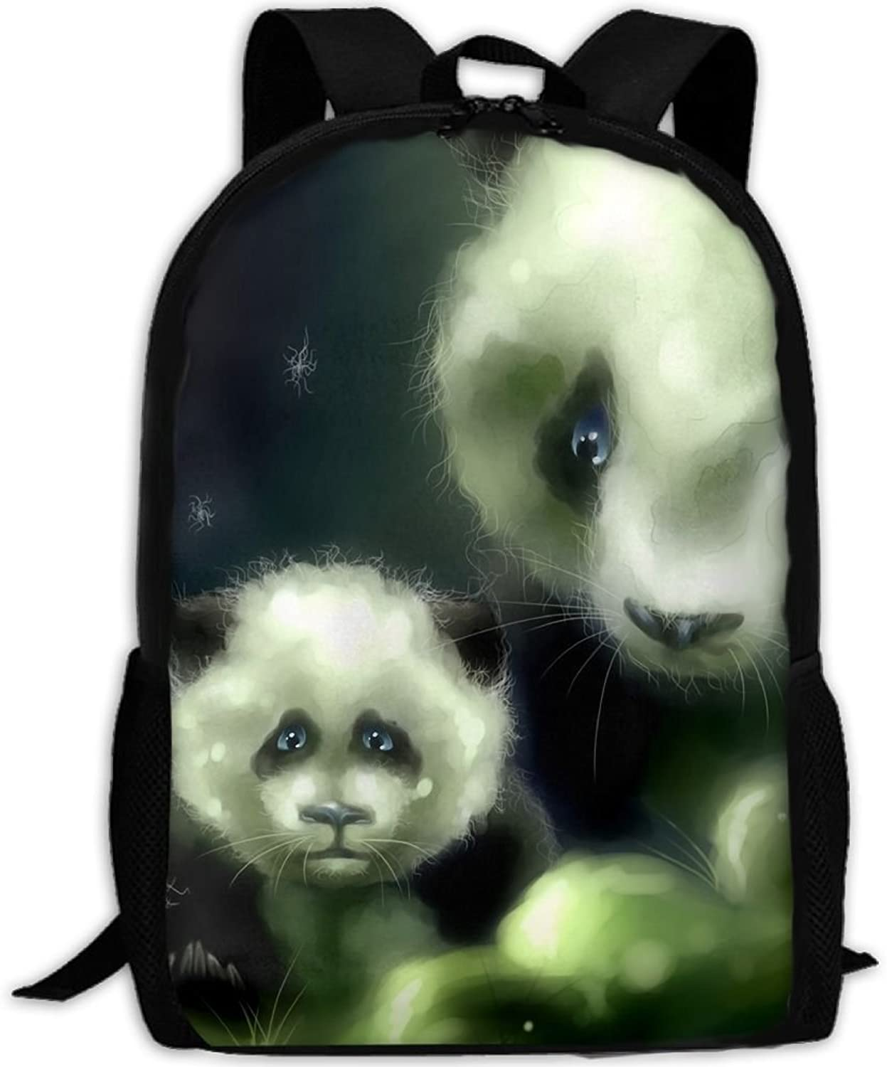 Adult Backpack Panda Bears College Daypack Oxford Bag Unisex Business Travel Sports Bag with Adjustable Strap