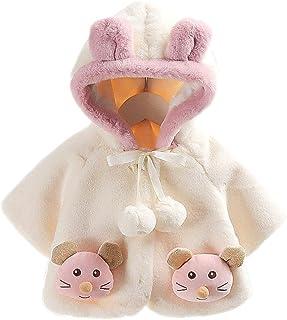 BigForest Baby Infant Girls Coat Faux Fur Long Sleeve cute hooded Cape Cloak Jackets with cartoon Warm Outerwear Winter Cl...