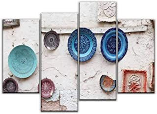 Sudoiseau 4 Panels Canvas Wall Art, Turkish Ceramics in Souvenir Shop cappadocias and Pictures Painting Pictures Print On Canvas Ready to Hang for Home Decoration