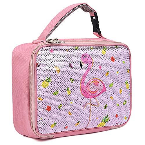WERNNSAI Flamingo Lunch Tasche - Paillette Thermal Isoliert Mittagessen Tote Box für Mädchen Geschenke Wiederverwendbar Auslaufsicher Lunch Tote Box mit Reißverschlüssen in der Schule