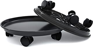 """15.5"""" Black Plant Caddy,2 Pack of Plant Pallet Caddy With Wheels, Round Flower Pot Mover, Indoor Rolling Planter Dolly on Wheels(2 Pack)"""