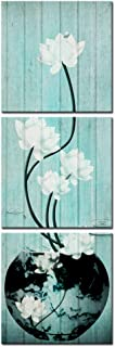 Nachic Wall - 3 Piece Flower Pictures White Lotus with Teal Wood Background Art Prints Still Life Floral Painting Wall Art Modern Zen Wall Decor for Home Bedroom Spa Room Galley Canvas Wrapped