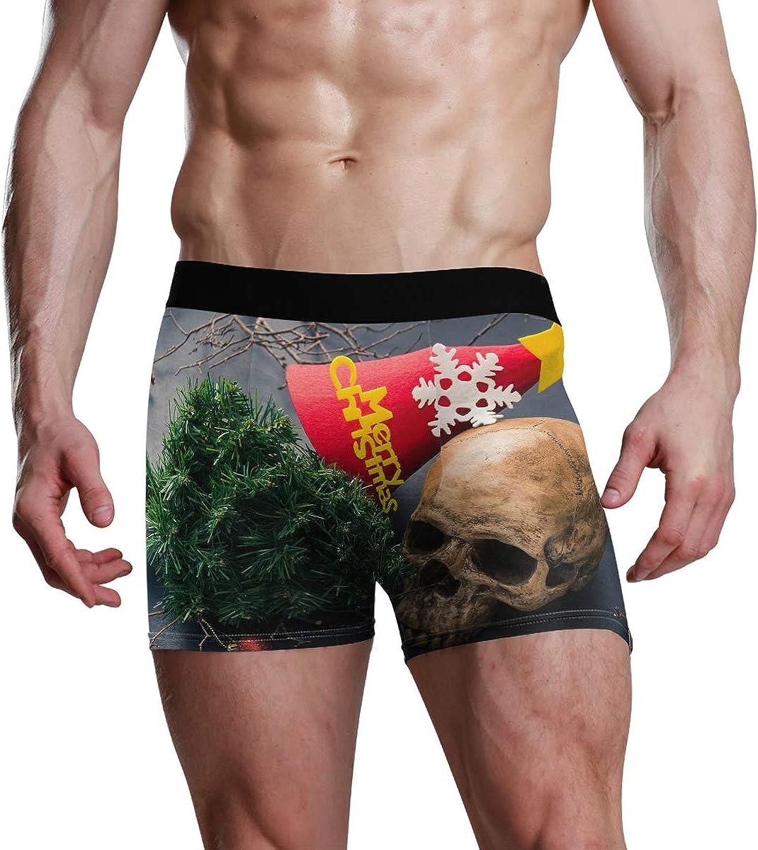 Mens Underwear Boxers Human Skull Christmas Tree ComfortSoft Boxer Briefs Breathable Bikini