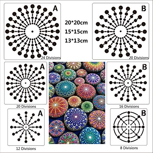 BLUGUL Mandala Schablone, Mandala Dotting Malvorlagen Schablonen, Mandala Rock Punktierung Werkzeuge, für DIY Dekor, Felsen Stein, Airbrush, Felsen und Walls Art, Netz Serie B 6 Stück