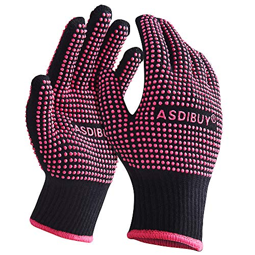 2021 Newest ASDIBUY Heat Resistant Gloves for Hair Styling 2...