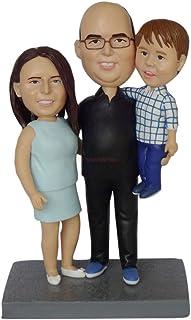 fare un busto da foto famiglia di 3 persone figurine bambole bambole decorazioni natalizie regali personalizzati decorazio...